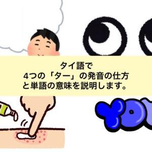 タイ語で4つの「ター」の発音の仕方と単語の意味を説明します。