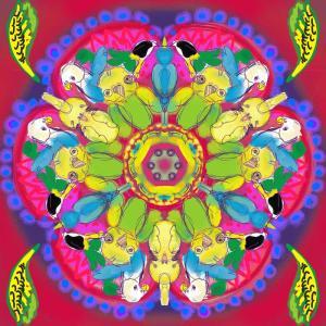 インコの万華鏡フラワーのラフ画-2020年5月22日-Fri