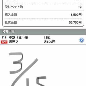 ロジックA→今度は穴軸14番人気から馬連万馬券!!土日連続の万馬券ですね(^ ^)
