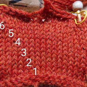 スティーク技法で編む表編みカーディガン