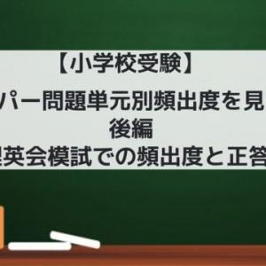 【小学校受験】 ペーパー問題単元別頻出度を見る! 後編 ~理英会模試での頻出度と正答率~