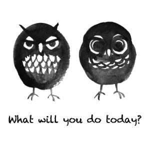 梟とミミズクの「今日は何する?」サコッシュ