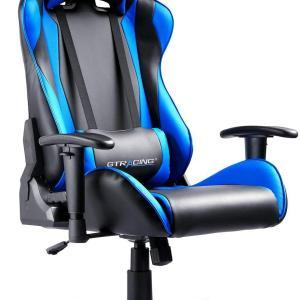 GTRACING ゲーミングチェア オフィスチェア デスクチェア ゲーム用チェア リクライニング パソコンチェア ハイバック ヘッドレスト ランバーサポート ひじ掛け付き 高さ調整機能 PUレザー ブルー (GT002)