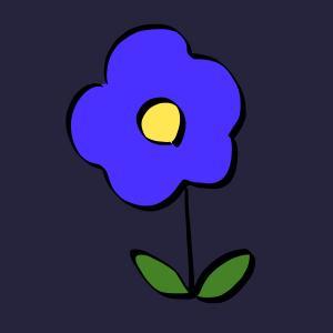 花【青色】のイラスト【フリー素材】【商用利用可】【植物】【ブルー】【ハナ】【自然】