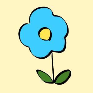花【水色】のイラスト【フリー素材】【商用利用可】【植物】【ブルー】【自然】【ハナ】