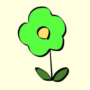 花【黄緑】のイラスト【フリー素材】【商用利用可】【はな】【黄緑色】【植物】【sns,資料、ブログなどに】