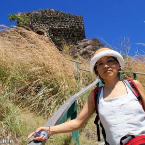 セントルシア 背景はピジョンアイランドの砦の遺跡