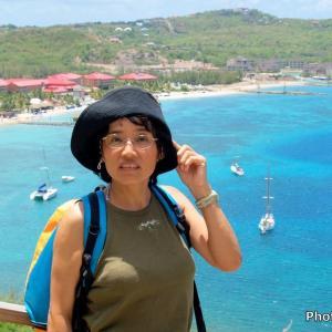 セントルシア 背景はロドニー湾のリゾートビーチ