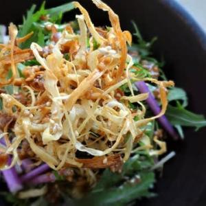 紫水菜とゴボウのサラダ