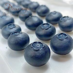 粘土でブルーベリー作りました。