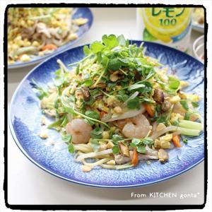 残り野菜と中華麺で作る、タイの味★パッタイ風焼きそば♬
