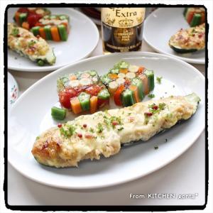 ズッキーニボートand夏野菜のゼリー寄せwithコーンスープ