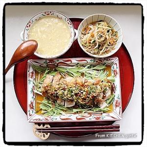 油淋鶏と中華コーンスープ