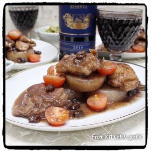 大根と鶏モモ肉のワイン煮込み