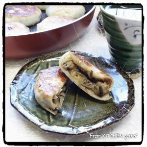ナス味噌と野沢菜の2種のおやき♬