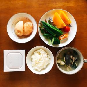 残り少ない遠出の農作業デーの朝食 (6/25の朝食)