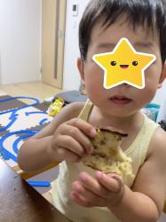 孫の顔を見に、バナナケーキ持って