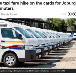 乗合タクシー大幅運賃アップ ~南アフリカ~