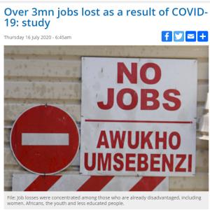 コロナ感染拡大により350万人が失業 ~南アフリカ~