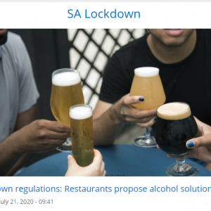 お酒のサービス再開を提案するレストラン業界 ~南アフリカ~