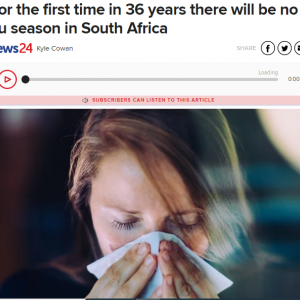 今年はインフルエンザは流行せず ~南アフリカ~