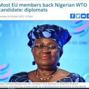 WTO事務局長選 EUはナイジェリア出身候補を支持