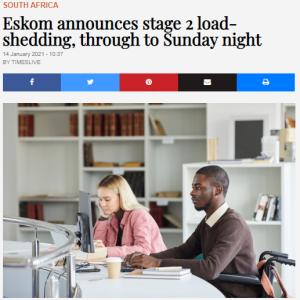 一日当たり4時間超の計画停電 ~南アフリカ~