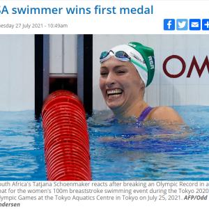 南アフリカもオリンピック・ニュースを報じています