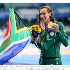 200メートル平泳ぎで金メダル(南アフリカ シェーンメーカ選手)