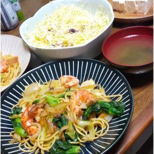 体重維持の飲み会ご飯。今週はえびと菜の花のスパゲティ
