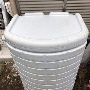 雨水タンクの取付 200ℓ雨水タンクを設置しました