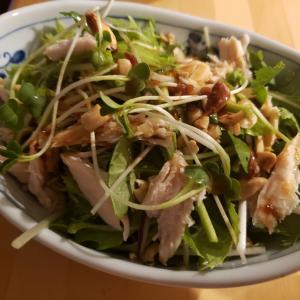 水菜とパクチーのサラダ@おうち居酒屋~念願のパクチー入手