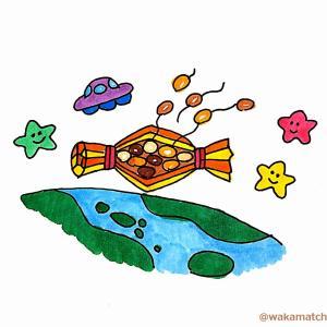 見つめるカンガルーと空気のペットボトルと宇宙に浮かぶ納豆の英語絵巻