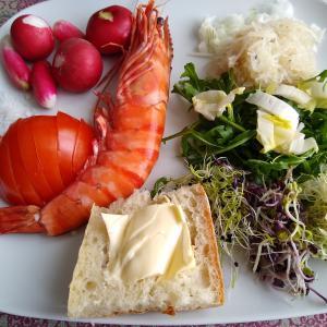 大きな海老と3種の発芽野菜