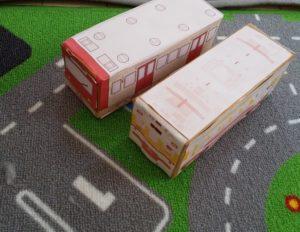 牛乳パックで簡単に作れる子どもの電車のおもちゃ ☆ 東急電鉄の型紙で作れる