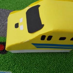 電車好きの子どもが喜ぶおもちゃを牛乳パックを使って手作り ☆ 「新幹線 ドクターイエロー」