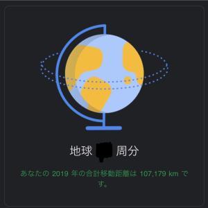 2019年の移動距離は地球○周分でした【移動距離は107,179km】
