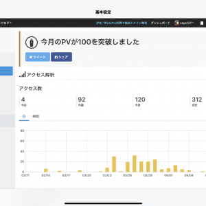 100PV達成!!!