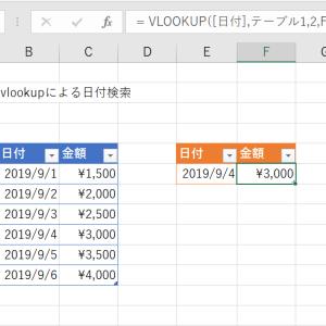 Excelによる日付のVLOOKUP