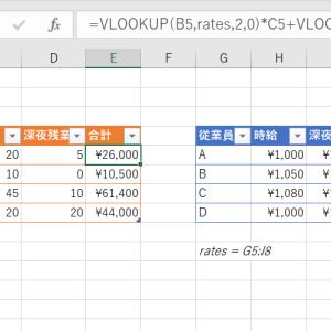 Excelでvlookupの結果を複数利用した計算をしたい。