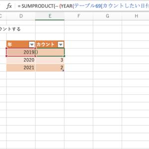 Excelで日付セルを特定の年毎にカウントする