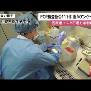 """北海道でも""""PCR検査拒否の実態""""明らかに…北海道保険医会の調査 全体約2割の111件拒否 (20/04/15 12:04)"""