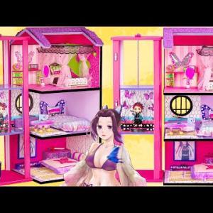【鬼滅の刃2期】栗花落 カナヲ  , 胡蝶 しのぶ 💖 カナヲ、しのぶ、カナエの3人の姉妹のためのエレベーター付きの3階建てのピンクの家を作ります。【Kimetsu no Yaiba】鬼滅の刃