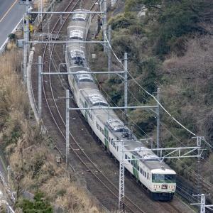 S字の俯瞰スポットで踊り子(185系)の7両・15両を撮影!🐍