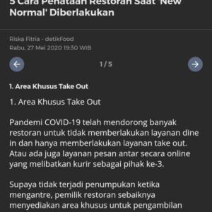 【速報】インドネシア、レストランのニューノーマルルールが出た