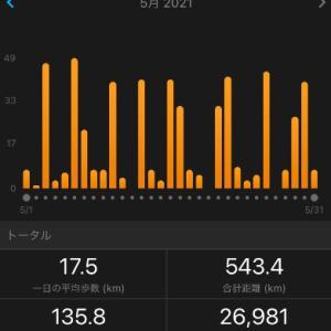 【2021年5月のまとめ】今までの最高月間走行距離達成(543.4km)
