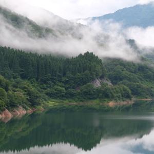 雨上がりのダム湖