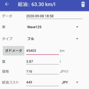 WAVE125i 最新の燃費