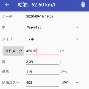 Wave125の燃費(9/16)