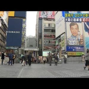 大阪市の路線価 初の減額補正 コロナの影響などで(2021年1月26日)